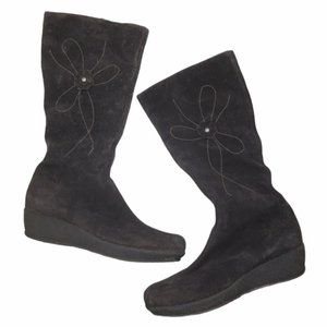 LA CANADIENNE Brown Flower Tall Suede Boot Size 11